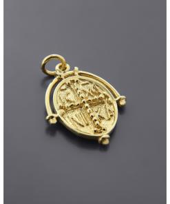 Κωνσταντινάτο Φυλαχτό χρυσό δύο όψεων Κ14