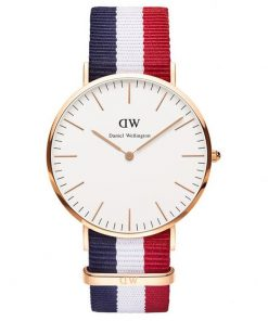 DANIEL WELLINGTON Nato Cambridge Rose Gold Plated case