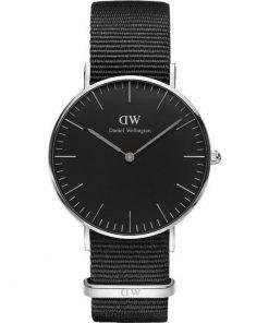Daniel Wellington Classic Black Cornwall 36mm Silver 0151DW