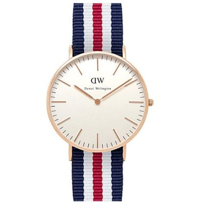 DANIEL WELLINGTON Nato Canterburry  Rose Gold Plated case