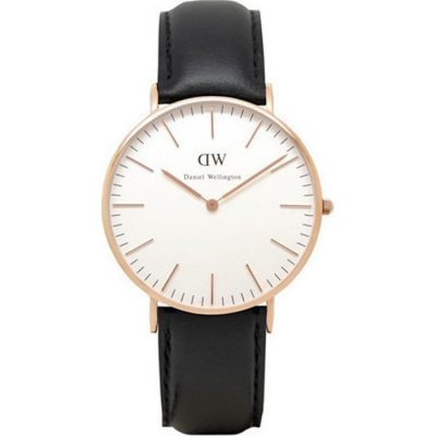DANIEL WELLINGTON Sheffield Black Leather Strap Ladies Watch -Cod.: 0508DW