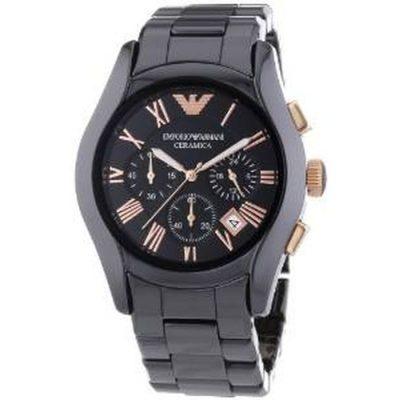 Emporio Armani Mens Chronograph Black Ceramic Bracelet AR1410