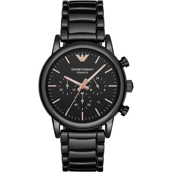 a382afb89a Emporio Armani Luigi Chronograph Black Ceramic Stainless Steel Bracelet  Gents Watch AR1509