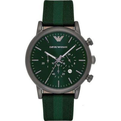 Emporio Armani Luigi Mens Chrono Watch Green Fabric Strap AR1950