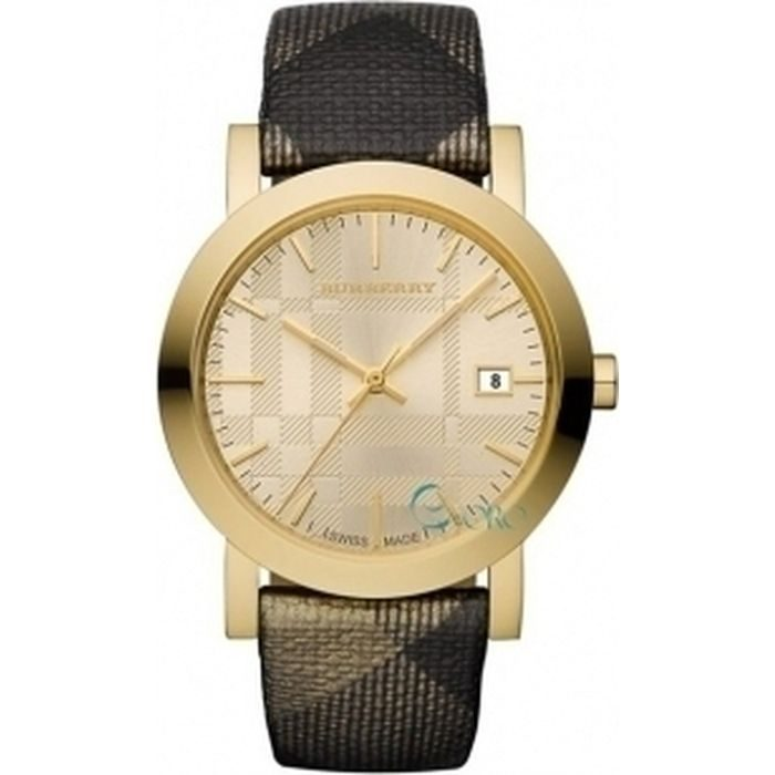 Burberry Gold Shimmer Check Fabric Strap BU1874