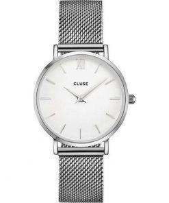 Cluse Minuit Mesh Ladies White/Silver Bracelet CL30009