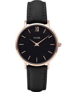 Cluse Minuit Ladies Rose Gold Black Leather Strap CL30022