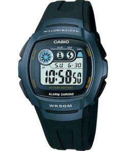 CASIO  Digital Black Rubber Band  W-210-1BV