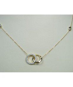 κολιε χρυσο Κ14 με λευκες ημιπολυτιμες πετρες Signity Zircon