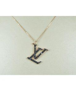 κολιε χρυσο τυπου LOUIS VUITTON Κ14 με καφε ημιπολυτιμες πετρες Signity Zircon