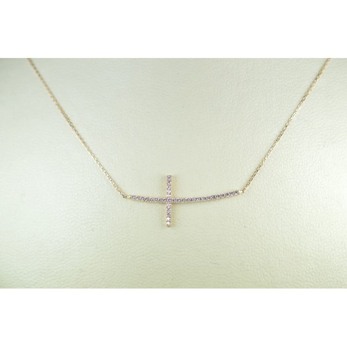 κολιε σταυρουδακι ροζ χρυσο Κ14 με λευκες ημιπολυτιμες πετρες Signity Zircon d0dabd385cf
