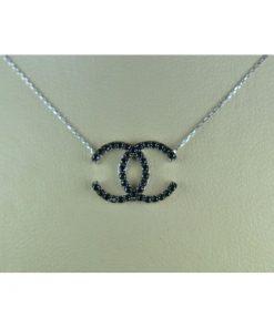 κολιε τυπου Chanel λευκοχρυσο Κ14 με μαυρες ημιπολυτιμες πετρες Signity Zircon