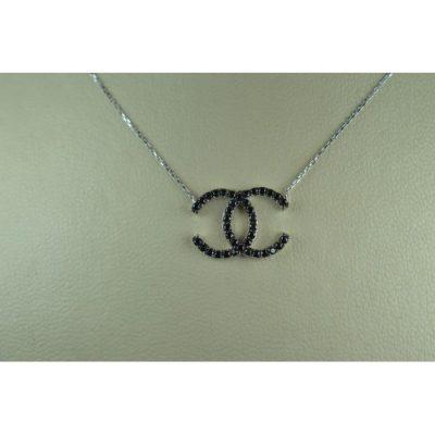 κολιε τυπου Chanel λευκοχρυσο Κ14 με καφε ημιπολυτιμες πετρες Signity Zircon