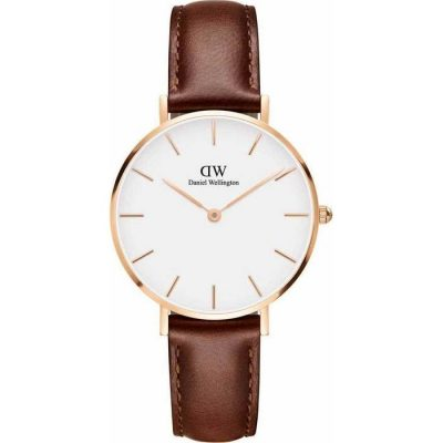 DANIEL WELLINGTON Classic Petite St Mawes Rose Gold Brown Leather Strap DW00100175