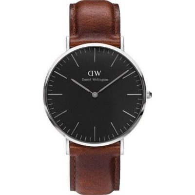 Daniel Wellington Classic Black St Mawes Brown Leather Strap DW00100130