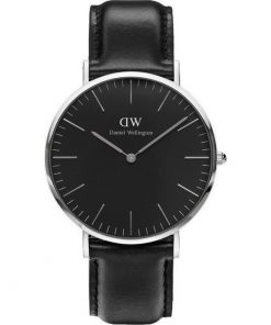 Λουράκι DANIEL WELLINGTON 20mm Black Leather Strap (Fits 40mm Case) DW00100133