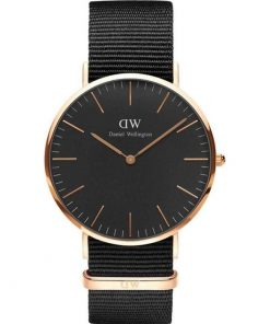 Daniel Wellington Classic Black Cornwall Rose Gold Black Fabric Strap DW00100148