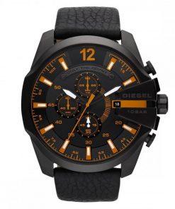 DIESEL Gunmetal Analog  Black Leather Strap Chronograph Gents Watch- Cod.  DZ4291