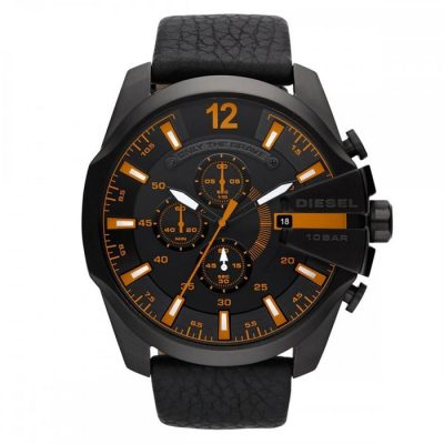 DIESEL Gunmetal Analog  Black Leather Strap Chronograph Gents Watch- Cod.  DZ4291