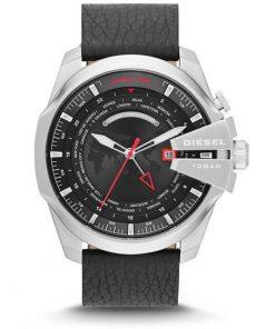 DIESEL Xl World Time Mega Chief Black Leather Strap Gents Watch-  Cod: DZ4320