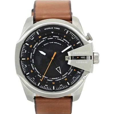 DIESEL XL World Time Brown Leather Strap DZ4321