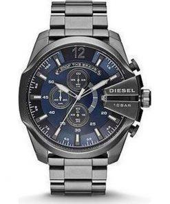Diesel Mega Chief Chronograph Blue Dial Gunmetal Ion-plated Mens Watch  DZ4329