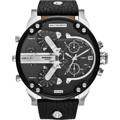 DIESEL Μr Daddy 2 Black Leather Strap DZ7313