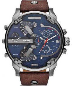 DIESEL XXL Mr Daddy 2 Brown Leather Strap Chronograph Gents Watch- Cod.: DZ7314