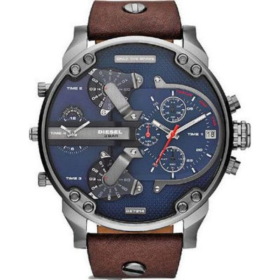 DIESEL XXL Mr Daddy 2 Brown Leather Strap Chronograph Gents Watch- Cod.: DZ7314