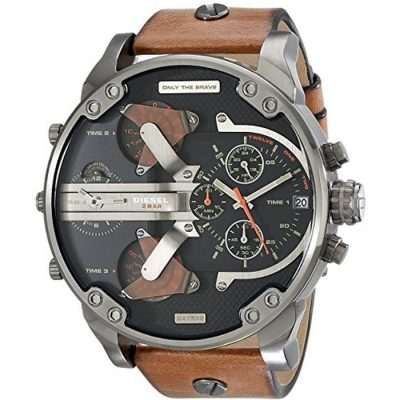 DIESEL Μr Daddy 2 Men's Chrono Brown Leather Strap DZ7332