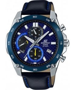 Casio Edifice Mens Chronograph Silver Stainless Steel Case with Blue Leather Strap EFR-557BL-2AVUEF