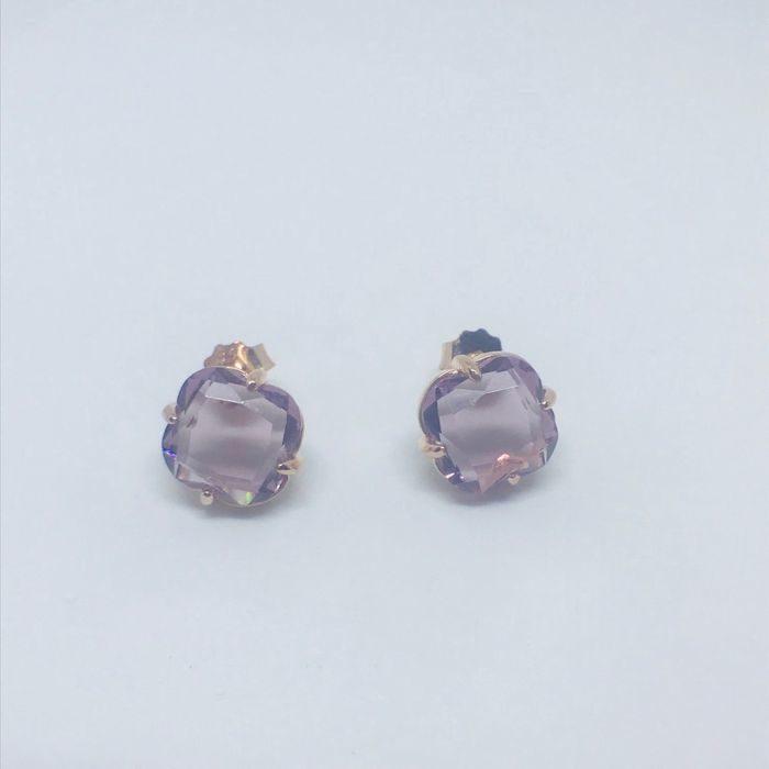 Γυναικεία ασημένια επιροδιωμένα κρεμαστά σκουλαρίκια με τύπου αμέθυστο πέτρα 0fa73018596
