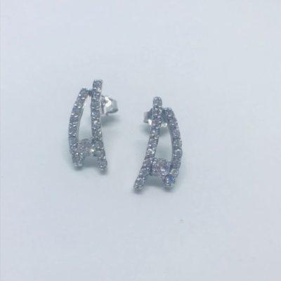 Γυναικεία ασημένια κρεμαστά σκουλαρίκια με πέτρες zircon