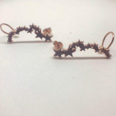 Γυναικεία ασημένια επιροδιωμένα σκουλαρίκια σχέδιο αστεράκια με μαύρες πέτρες zircon