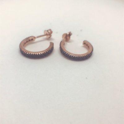 Γυναικεία ασημένια επιροδιωμένα σκουλαρίκια κρικάκια με μαύρες πέτρες zircon