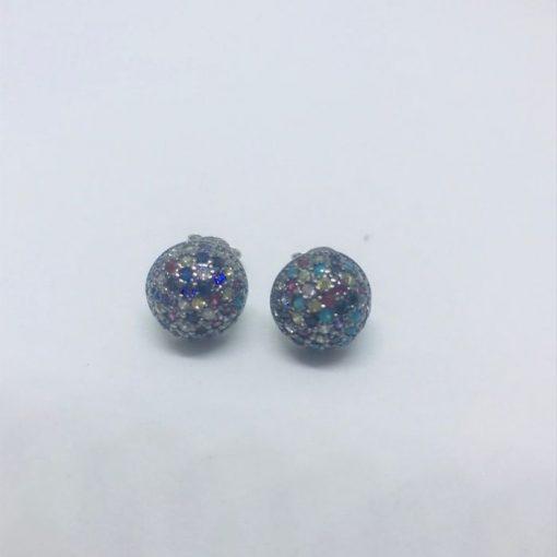 Γυναικεία ασημένια σκουλαρίκια κρικάκια με μαύρο πλατίνωμα και χρωματιστές πέτρες zircon