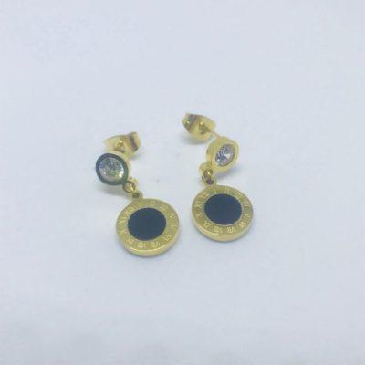 Ατσάλινα σκουλαρίκια επιχρυσωμένα τύπου Bulgari