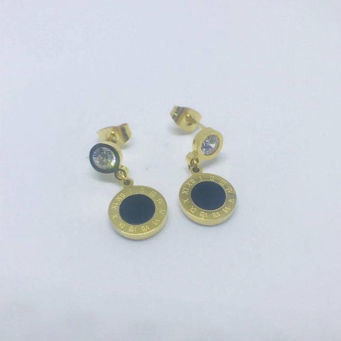Ατσάλινα σκουλαρίκια επιχρυσωμένα τύπου Bulgari - oroloi-kosmimata.gr 27c3542b8e3