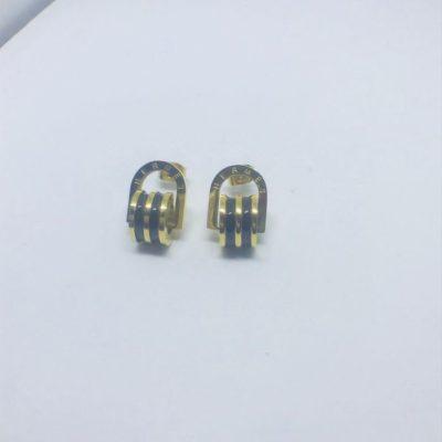 Ατσάλινα σκουλαρίκια επιχρυσωμένα τύπου Hermès