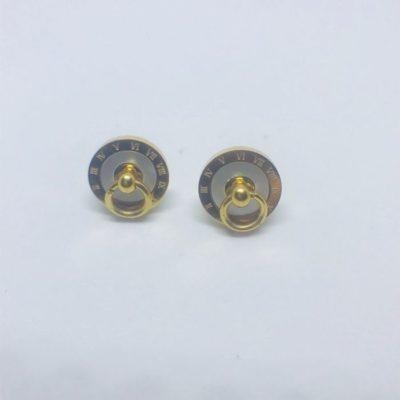 Ατσάλινα σκουλαρίκια επιχρυσωμένα με φίλντισι τύπου Bvlgari