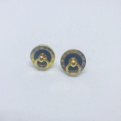 Ατσάλινα σκουλαρίκια επιχρυσωμένα τύπου Bvlgari