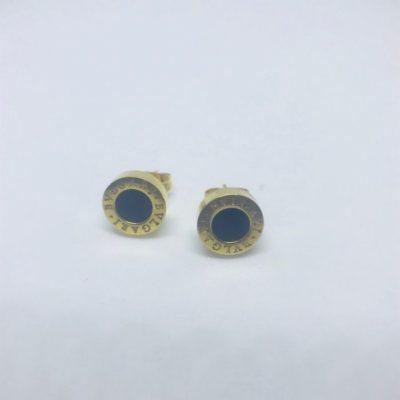 Ατσάλινα σκουλαρίκια επιχρυσωμένα τύπου Bvlgari με όνυχα