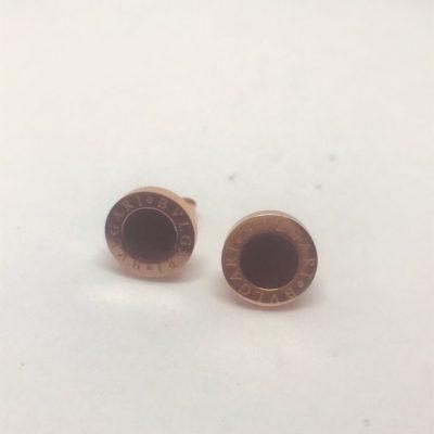 Ατσάλινα σκουλαρίκια επιροδιωμένα με όνυχα τύπου Bvlgari