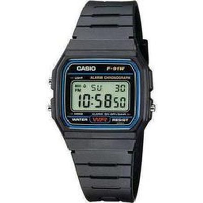 CASIO Collection Digital Black Rubber Strap- F-91W-1YERF