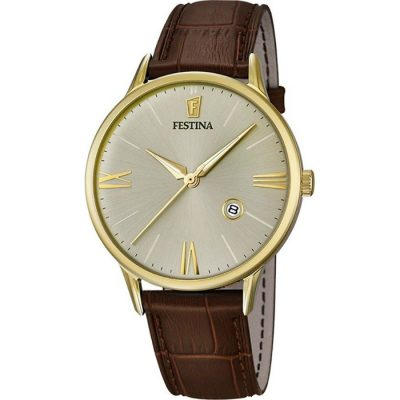 Festina Gold Stainless Steel with Brown Leather Strap F16825-2