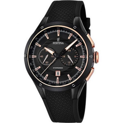 Festina Chronograph Black Stainless Steel with Black Rubber Strap F16833/2