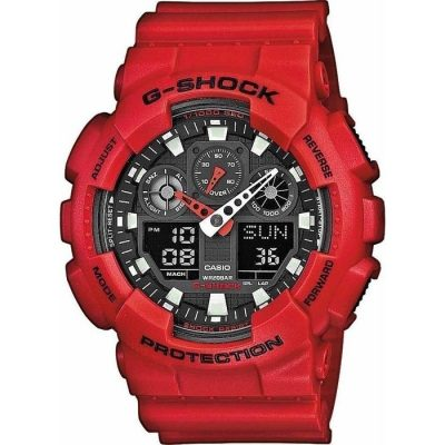 CASIO G-SCHOCK Chronograph Red Rubber Strap GA-100B-4AER