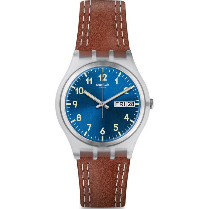 SWATCH Windy Dune Three Hands Brown Leather Strap Leather Strap GE709 c99b1216ec7