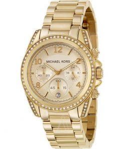 Michael KORS Ladies Crystal Chrono Gold Stainless Steel Bracelet MK5166