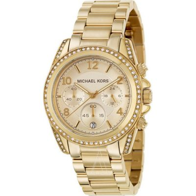 Michael KORS Ladies Crystal Chrono Gold Stainless Steel Bracelet MK5166